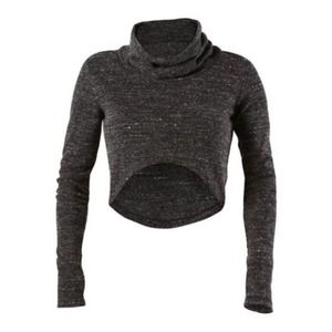 Cabi Glee Charcoal Gray Cropped Sweater - S